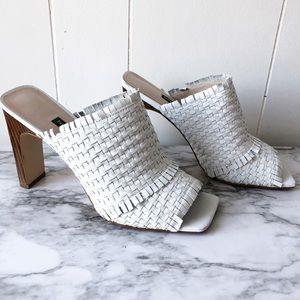 Nine West Lucili Woven White Leather Heels